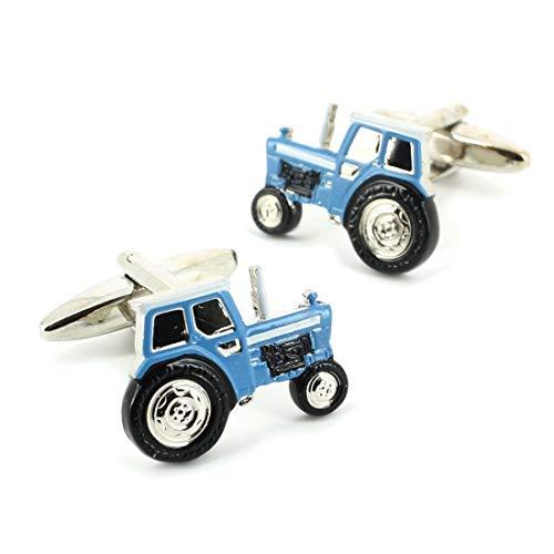 Cravate Avenue Signature. Boutons de Manchette. Tracteur, Acier rhodié. Bleu, Fantaisie.