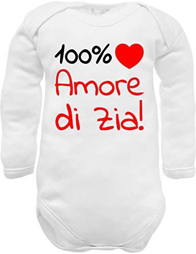 body neonato manica lunga caldo cotone bianco divertenti frase 100% amore di Zia cuore rosso - idea regalo nascita nipote (body Zia w ml cc 0-3 mesi)