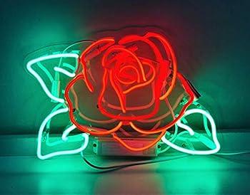 Queen Sense 14  Rose Flower Neon Sign Light Decorated Acrylic Panel Handmade Beer Bar Pub Man Cave Lamp UT153