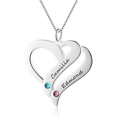 Namenskette Herz 925 Sterling Silber mit zwei Wunschnamen und Geburtsstein, invididuelle Herz Kette Silber/Rosegold/Gold mit Gravur