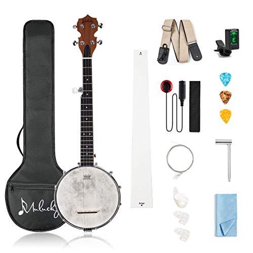 Mulucky 5 String Banjo - Concert 26 Inch Banjo Remo Drumhead Beginner Kit With Gig Bag Tuner Picks Strings Strap - B801