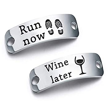 bobauna Run Now Win Later Shoe Lace Tag Inspirational Trainer Tags Gift For Runner Fitness Gym Gift  Run now win later