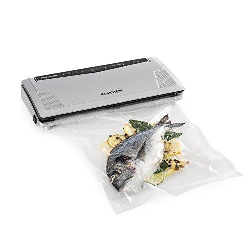 Klarstein FoodLocker Slim - machine à vide, thermo soudeuse, 130 W, 9 l/mn, aliments, sous vide, automatique, double soudure, silencieux, 10 sacs sous vide inclus, nettoyage facile, gris
