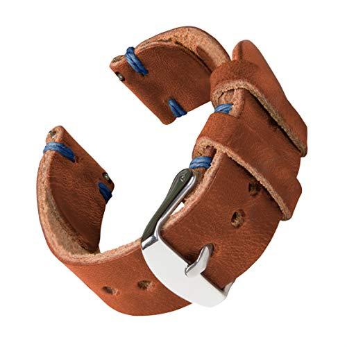Archer Watch Straps - Correas de Reloj Hechas a Mano de Piel de Horween con Recambio de Liberación Rápida para Hombre y Mujer, para Relojes y Smartwatch (Negro/Hilo Rojo, 18mm)