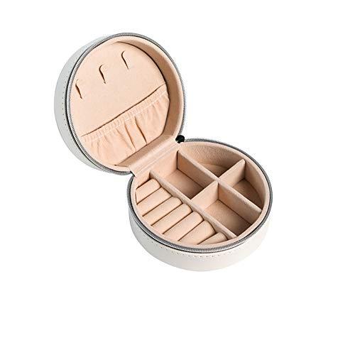 Runde Schmuckschatulle, Sammelbox Exquisite Tragbare, Doppelschichtige Schmuckschatulle Einfache Ohrringe Ohrringe Sammelbox.Weiß.