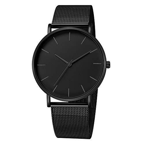 Armbanduhr männer Liusdh Uhren Antike französische goldene Zeigeruhr mit mattem Zifferblatt und schwarzem Edelstahlgürtel uhr(J,Einheitsgröße)
