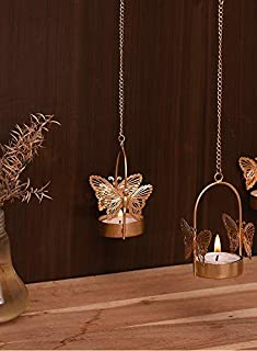 CraftVatika Tealight Candle Holder Hanging Butterfly Tea Light Candle Holders Stand for Home Christmas Indoor Outdoor Deco...