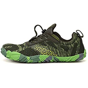 WHITIN Men's Trail Running Shoes Minimalist Barefoot 5 Five Fingers Wide Width Toe Box Gym Workout Fitness Low Zero Drop Male Sneakers Treadmill Free Athletic Ultra Green Size 11