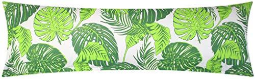 Heubergshop Baumwoll Renforcé Seitenschläferkissen Bezug 40x145cm - Tropische Blätter in grün - 100% Baumwolle Stillkissenbezug (KY-510-1)
