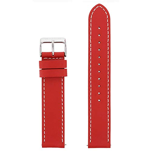 DETOMASO echtes italienisches Uhrenarmband aus Leder 20mm (Leder - Rot)