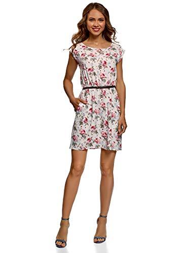 oodji Ultra Damen Viskose-Kleid mit Grtel, Elfenbein, DE 36 / EU 38 / S