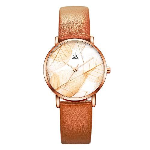 Damenuhren Blattmuster Farbige Armbanduhren für Damen Mädchen Weiches Lederarmband Minimalistisch,...