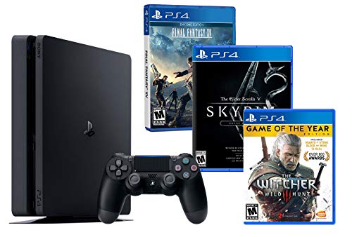 PS4 Slim 1Tb Negra Playstation 4 Pack RPG (3 Juegos) The Witcher 3 [GOTY] + Final Fantasy XV + The Elder Scrolls V: Skyrim Special Edition