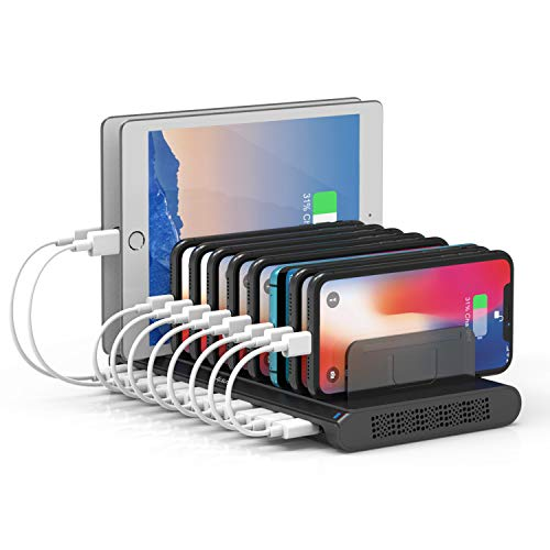 Alxum 10 Port USB Charging Station, Charging Station Dock for Multiple Device with Adjustable Dividers, Compatible with iPhone, iPad Air/Mini, Samsung Galaxy, LG stylo, Google Pixel, Kindle, Black