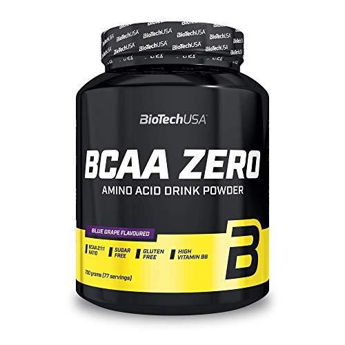BioTechUSA BCAA Zero Bebida en polvo de aminoácidos aromatizada sin azúcar, con L-leucina, L-isoleucina y vitamina B6, 700 g, Uva azul
