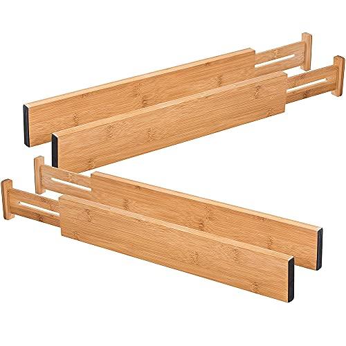 Paquete de 4 divisores de cajones NC, separadores de organización expandibles, para cocina, aparador, dormitorio, cajones de ropa ajustables.