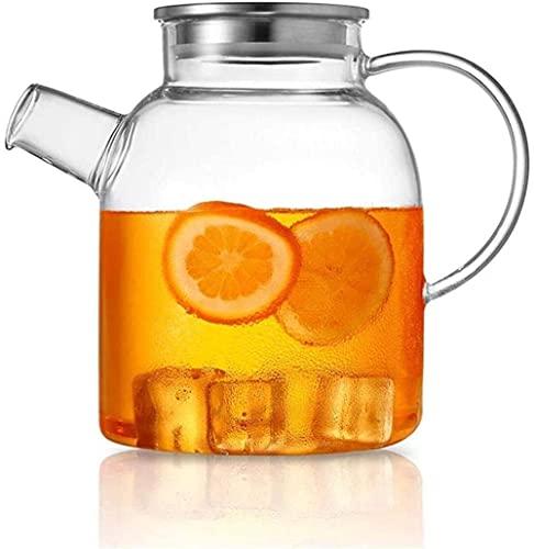 GHJA Jarra de Agua Jarra de Vidrio con Tapa Helada y Mango Borosilicato Resistente al Calor para té/Agua fría y Caliente/Hielo Vino Café Leche y Jugo Borosilicato Jarra de Bebida con Pico Taz