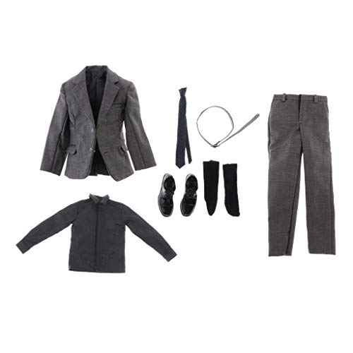 ZSMD 1/6 Scale Action Figure Doll Outfits, Formal Suit Set with Clothes, Pants, Tie, Shirt, Belt, Shoes, Socks for Hot Toys, Sideshow 12'' Male Body Model