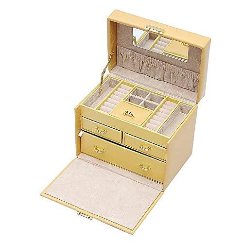 Caja de Almacenamiento pequeña para joyería con Mini Estuche y Espejo Caja de joyería de múltiples Capas Soporte de Almacenamiento para Joyas Los Mejores Regalos para niñas