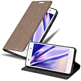 Cadorabo Hülle für Sony Xperia E5 in Kaffee BRAUN - Handyhülle mit Magnetverschluss, Standfunktion & Kartenfach - Hülle Cover Schutzhülle Etui Tasche Book Klapp Style