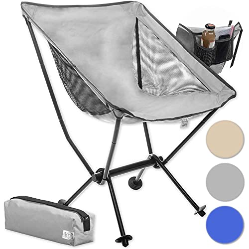 Moonchair Campingstuhl Camping-Hocker Moon Chair XXL Faltstuhl Extrem bequemer Klappstuhl Campingsessel Angelsitz (Grau)