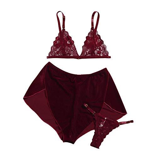 Damen Satin Schlafanzug Kurz Sexy Pyjama Set Sommer Nachtwäsche Set mit Spaghettiträger und Kurz Hosen Dreiteiliger sexy Pyjama (Wein,M)