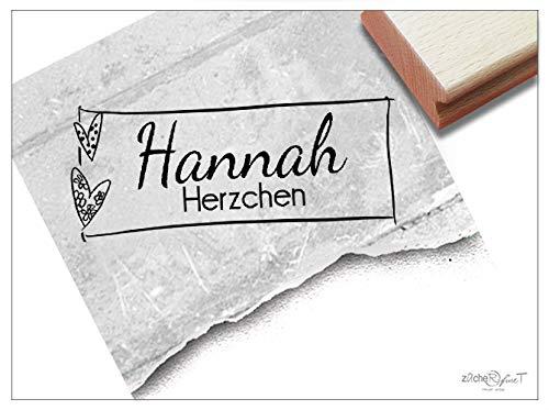 ZAcheR-FineT Stempel, persoonlijke naamstempel, hartjes, houten stempel, gepersonaliseerd naam, cadeau voor Valentijnsdag, verjaardag, dagsseta, school