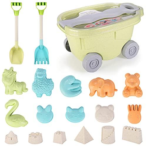 Strandspielzeug für Kinder, Kleinkindspielzeug für Strand Sandgrube mit Bucket Spade Castle Formen für 3-10 Jahre alte Kinder Weiches Kunststoffmaterial (Stil B)