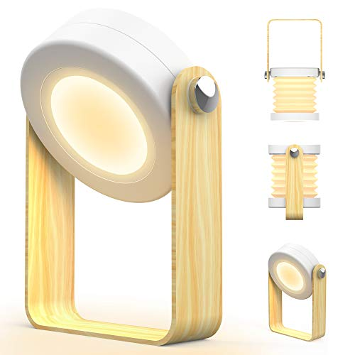Zttopo Lampe Lecture Pliable LED Lampe Chevet Portable Contrôle Tactile Veilleuse Rechargeable sans Fil avec Poignée en Bois 3 Niveaux de Lumière Blanche Chaude pour Chambre Camping (blanc chaude)