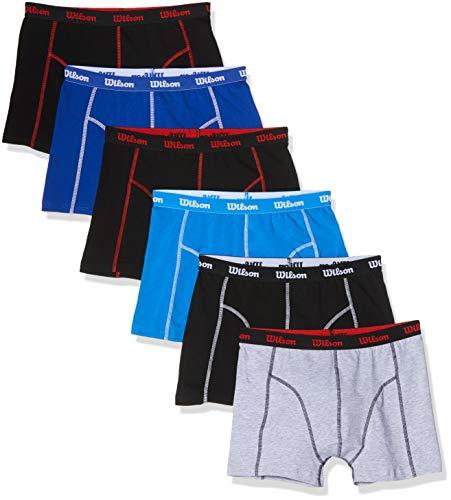 Wilson Herren Boxershorts Value Cotton Range (6er Pack), Schwarz/Grau/Schwarz/Blau/Schwarz, M