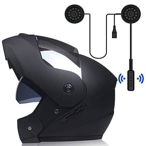 MOPHOTO doble visera Casco de moto con Bluetooth integrado casco modular para bicicleta o motocicleta antirreflectante casco intercomunicador