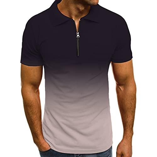 Polo Hombres Verano Cremallera Transpirable Hombres Shirt Slim Fit Shirt Ocio Manga Corta con Estampado Degradado Trotar Ligero Negocios Que Acampan Hombres Shirt Deportiva B-Grey XXL