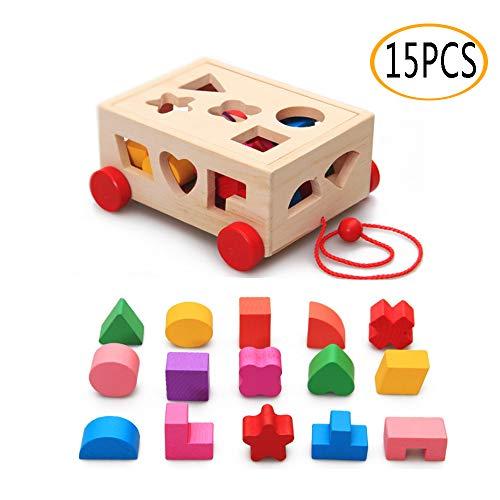 OMZGXGOD Holzspielzeug Steckspiel aus Holz, Steckbox für Baby Kleinkind Montessori Lernspielzeug Geschenk, Kleinkind Holzspielzeug trainiert Motorik (15Teile)