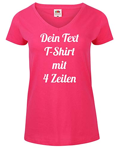 Damen T-Shirt V-Auschnitt Bedrucken mit dem Amazon Tshirt Designer. T-Shirt selber gestalten. T-Shirt Druck. T-Shirt mit Wunschtext. T Shirts sind Ökotex-100 Zertifiziert. Pink L
