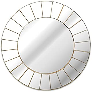 Kole Imports OS235 Champagne Stepped Round Wall Mirror