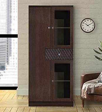 Cabinet Cum Display Unit in Dark Walnut Finish by Rahul Associates