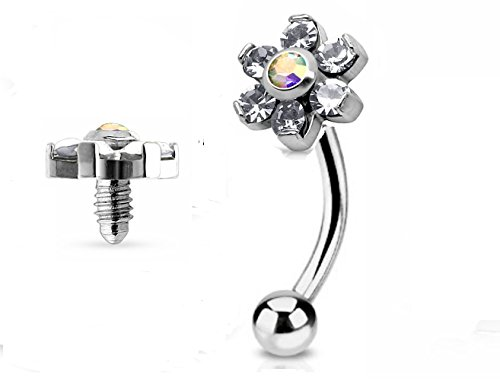 7ZACC Jeweled Twin Daisy Flowers Spinal Barbell Christina Vertical Hood VCH Jewelry Genital Piercing 1/2 (Clear)