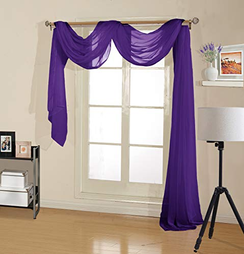 Decotex Premium Quality Sheer Voile Scarf Valance for Home & Event Designs (54' X 216', Purple)