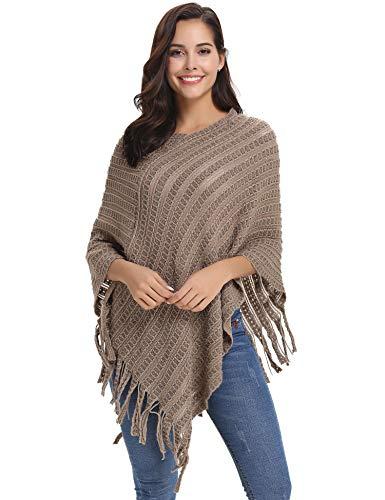Abollria Damen Poncho Grobstrick Elegant Warm Überwurf Cape mit Quasten Schal für Herbst Winter