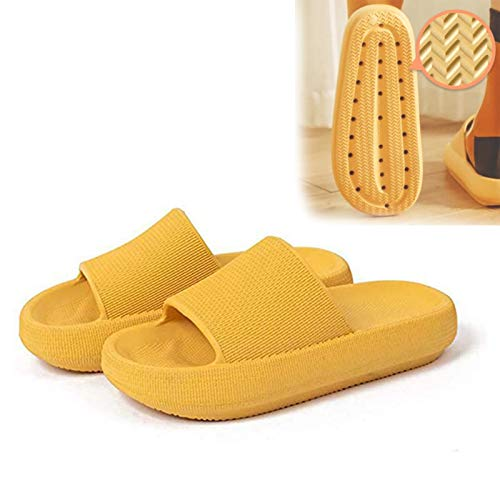 Pillow Slides Sandals, Pillow Slide Sandals, Unisex Shower Sandals Slippers with Thick Sole, Open Toe Style Slippers, Ultra-Soft Slippers Extra Soft Cloud Shoes Anti-Slip (Yellow, 44-45)