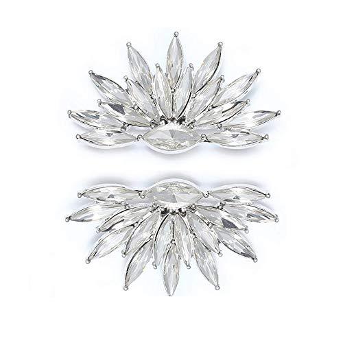 Clips de cristales para zapatos y ropa, 2 piezas de adornos de cristal brillantes para mujer, boda, fiesta, fiesta de graduación, decoración