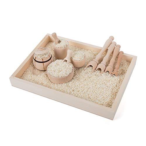 TreasureToys Montessori Sensory - Cubo de Basura y Relleno de Madera para Principiantes, Juego heurístico