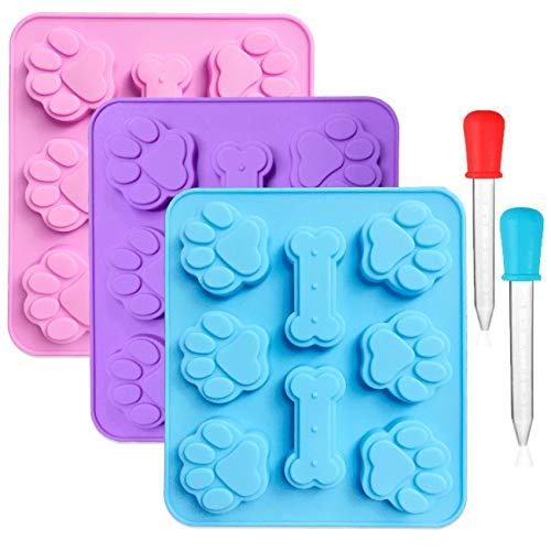 CKANDAY 3 Pack Silicone Puppy Paw Print & Dog Bone Shaped Chocolate Molds(2 in 1),with 2 Graduated Clear Liquid Droppers,8-Cavity, Reusable Ice Trays Baking Cookies Candy Moulds-Pink, Blue, Purple