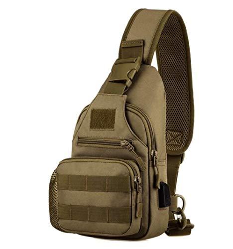 YYMMQQ zaino da esterno,USB Chest Bag Single Shoulder Camping Backpack Military Tactical Sports Bags Outdoor Hiking Army Mochlia Molle Camo Sack,khaki