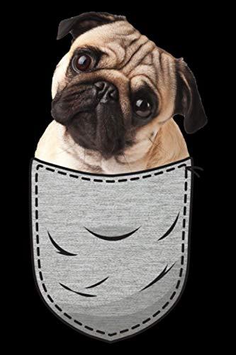 Mops Pug Carlin Carlino Brust-Tasche Pocket Hundebesitzer: DIN A5 Kariert 120 Seiten / 60 Blätter Notizbuch Notizheft Notiz-Block Hunde die in der Brusttasche sitzen Hundeliebhaber