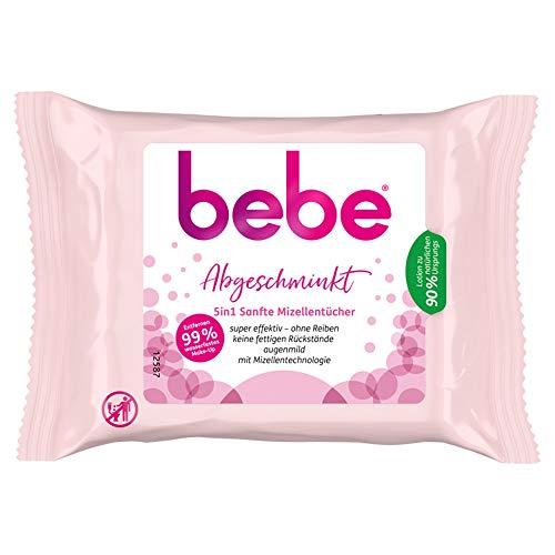 bebe Abgeschminkt 5in1 Sanfte Mizellentücher, pflegende & weiche Abschminktücher für alle Hauttypen (6 x 25 Stück)