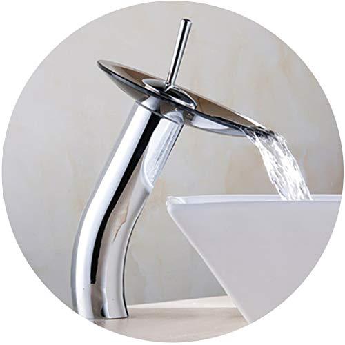 Waschraumarmaturen Wasserhahn Alle Kupfer Becken Wasserhahn Glas Wasserfall Wasserhahn Haushalt Badezimmer Warmen Und Kalten Einlochmontage Wasserhahn (Color : A, Size : 31 * 14cm)