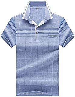 KTYXDE T-Shirt Men's Summer Striped Sports Short-Sleeved Lightweight Casual Running Lapel T-Shirt Loose Breathable Half Sleeve Men's Polo T-Shirt (Color : B, Size : M)