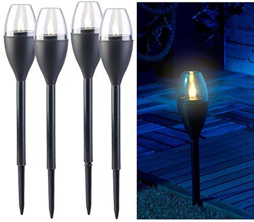Lunartec Solarfackeln: 4er-Set Solar-Akku-Gartenfackeln, LED in Flammen-Optik, Flackerlicht (Solar Gartenfackel)