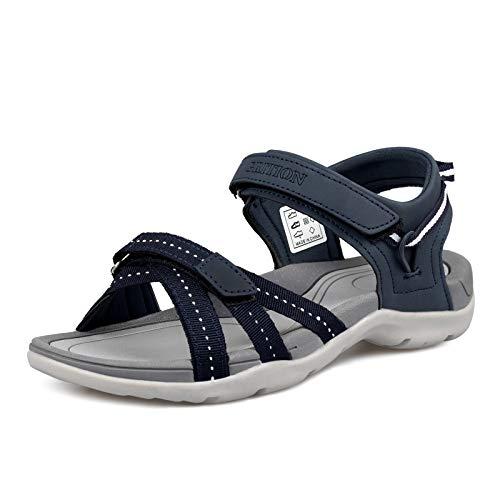 GRITION Sandali da trekking da donna, estivi per esterni, sandali da trekking, piatti, comodi e aperti, per lo sport, per la spiaggia, le passeggiate, Blu (Blu), 41 EU